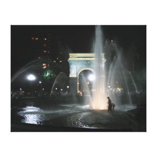 Washington Square Park Arch NYC at Night  Wrapped  Canvas Print