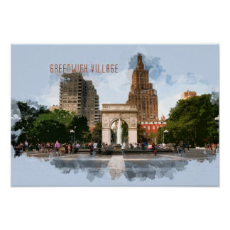 Washington Square Park Greenwich Village with TEXT Poster
