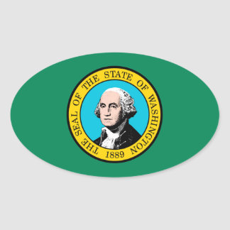 Washington State Flag Design Oval Sticker