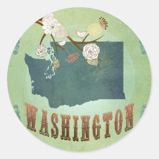 Washington State Map – Green Classic Round Sticker