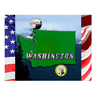 Washington State Map, Quarter, Seal and Mountains Postcard