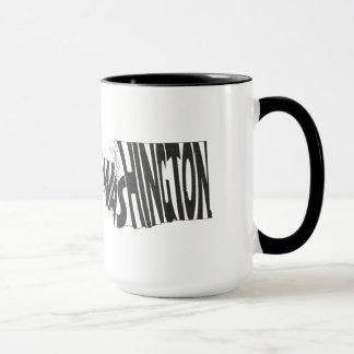 Washington State Name Word Art Black Mug
