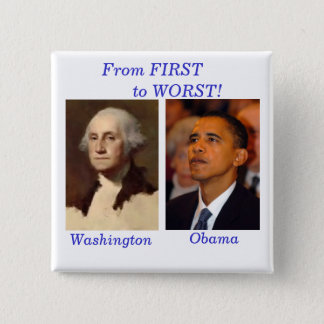 Washington to Obama Square 15 Cm Square Badge
