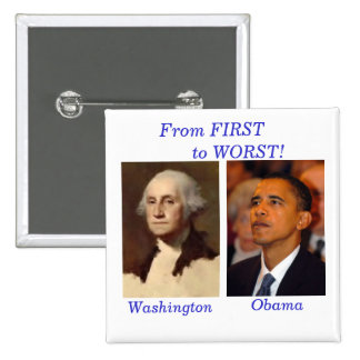Washington to Obama Square 15 Cm Square Badge