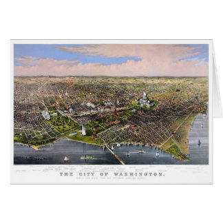 Washington Vintage Aerial View Restored 1880 Card