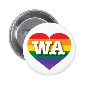 Washington WA rainbow pride heart 6 Cm Round Badge