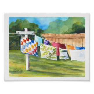 Washline Backyard Poster