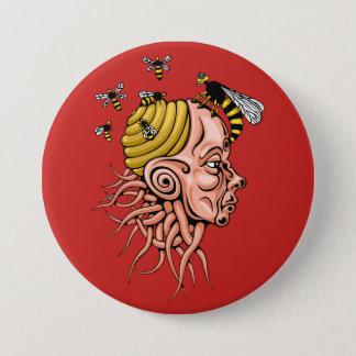 wasp nest - head shape design 7.5 cm round badge