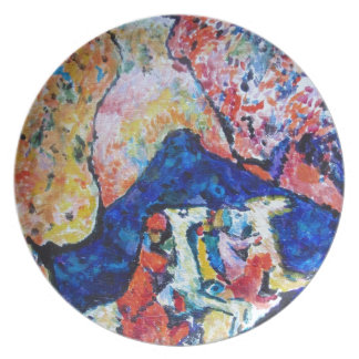 Wassily Kandinsky horse rider blue mountains Plate