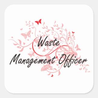 Waste Management Officer Artistic Job Design with Square Sticker