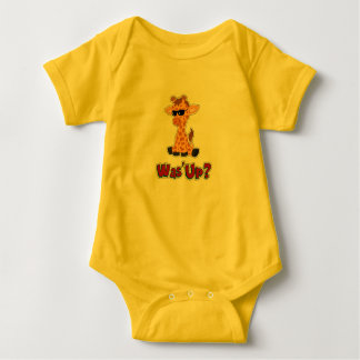Was'Up? Cute Giraffe Baby Boy Outfit Baby Bodysuit