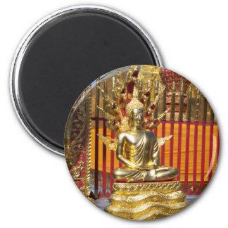 Wat Phrathat Doi Suthep Gold Buddha 6 Cm Round Magnet