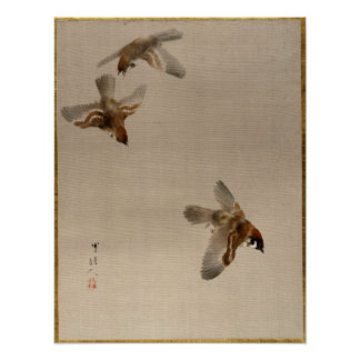 Watanabe Seitei Sparrows Flying Poster