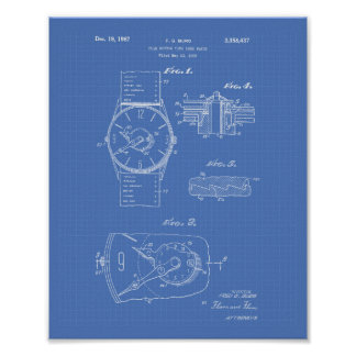 Watch 1966 Patent Art - Blueprint Poster