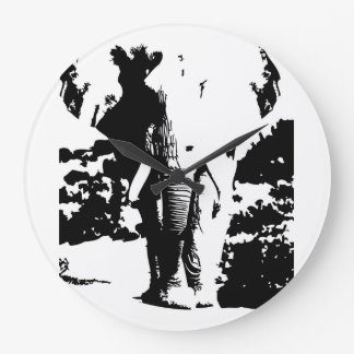 Watch black and white print elephant large clock