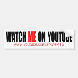 Watch Me on YouTube   Modern (Dark) Bumper Sticker