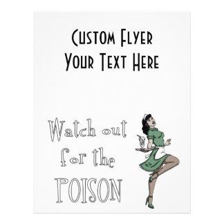 Watch Out For The Poison Retro Waitress - Color 21.5 Cm X 28 Cm Flyer