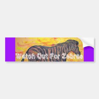 watch out for zebras bumper sticker
