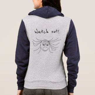 Watch out Funny Scared Girl Drawing Hoodie
