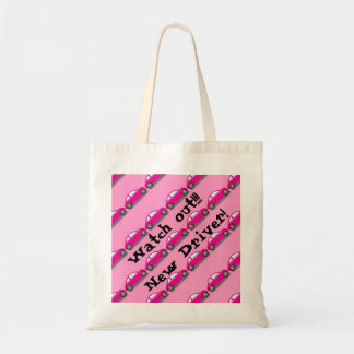 Watch out!!! New Driver! Pink Car Tote Bag Bag