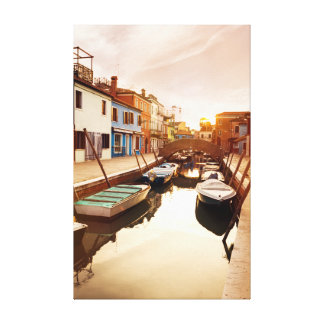 Watch the sun set at the canals of Venice. Europe Canvas Print