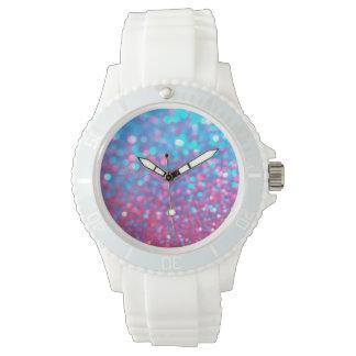 Watch white band blue pink glitter face