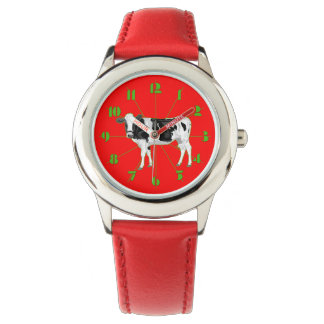 Watch with a graphic cow and numbers