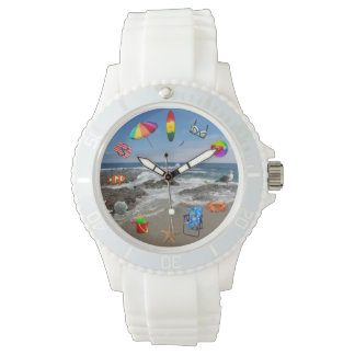 Watch with beach, ocean surrounded by beach items