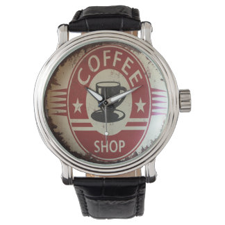 Watch with coffee shop sign in red and black