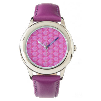 Watch with pink flower design, fuchsia band