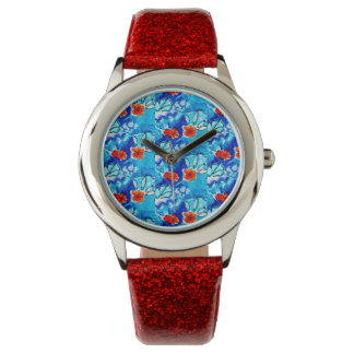 Watch with red glitter band red flowers blue band