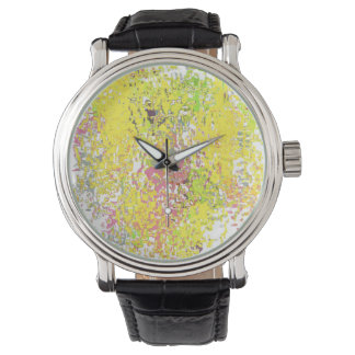 Watch with Yellow Abstract Design