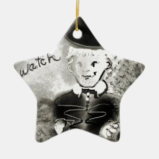 watchb&w ceramic ornament