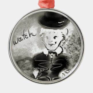 watchb&w metal ornament