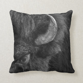 Watchful Eye of the Dominant Bull Bison Cushion