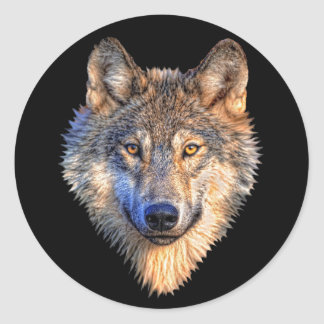 Watchful Wolf Classic Round Sticker