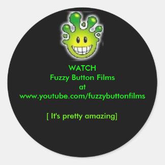 Watchh Fuzzy Button Films Round Stickers