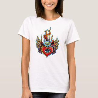 Watching Angel Eye Winged Heart Halo Design T-Shirt