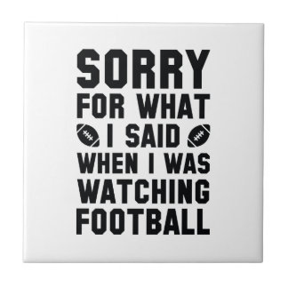 Watching Football Small Square Tile