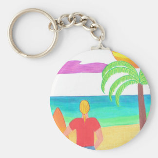 Watching for Waves Basic Round Button Key Ring
