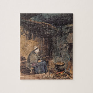 Watching the pot boil - a cottage interior jigsaw puzzle