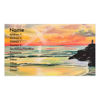 Watching the sunset seascape painting pack of standard business cards