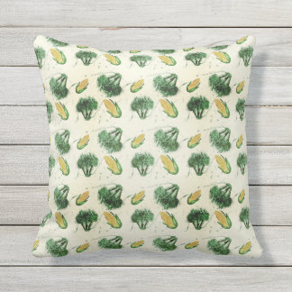 Watecolor  pattern with corns and broccoli outdoor cushion