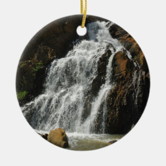 Water A Nice River Falls Round Ceramic Decoration