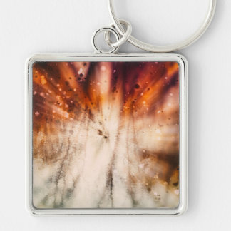 Water Abstract #4 Silver-Colored Square Key Ring