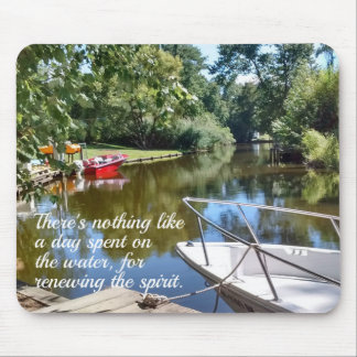 Water and boat scene with quote. mouse pad