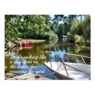 Water and boat scene with quote. postcard