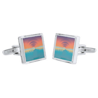 water and horizon silver finish cuff links