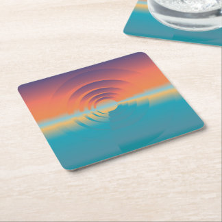 water and horizon square paper coaster
