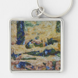 Water and river delta Silver-Colored square key ring